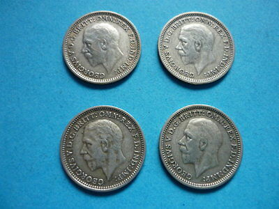 George V Silver Three Pence coins 1933 - 1936 (Struck in 0.500 Fine Silver)