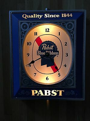 """Vintage PABST BLUE RIBBON Beer Electric Lighted WALL CLOCK Works Fine 12"""" x 14"""""""