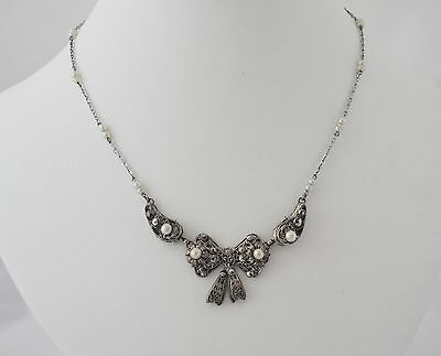 Antique Victorian Silver Gilt Necklace Lovely Original Pearl & Marcasite Bow