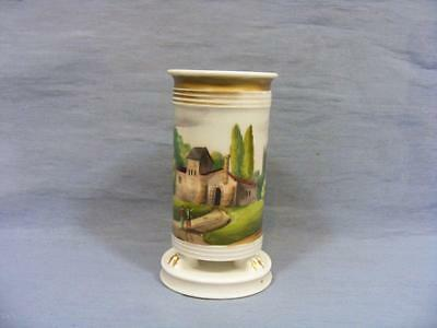 19c EMPIRE PARIS FRENCH  LION PAW FOOTED POSY VASE PAINTED RURAL SCENE c1830