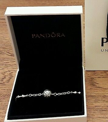 Pandora Bracelet - RARE (discontinued style) - Silver with Diamond Charm.