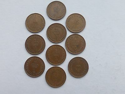10 x ELIZABETH II  HALF-NEW-PENNY DECIMAL COINS; GOOD USED CONDITION