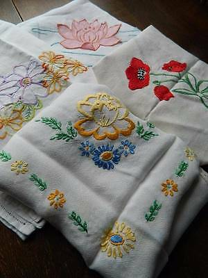 Bundle of 4 vintage large table cloths - linen with embroidery.Poppy, etc  #A