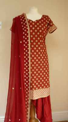 red silk 10-12 bollywood punjabi Indian salwar kameez sari lengha SS13113