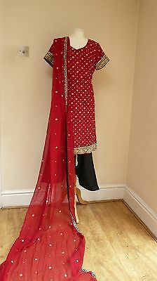 red silk 14-16 sakshi bollywood punjabi Indian salwar kameez sari lengha SS13103