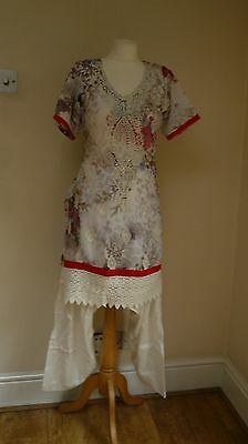 white 12-14 bollywood punjabi Indian salwar kameez sari lengha SS12864