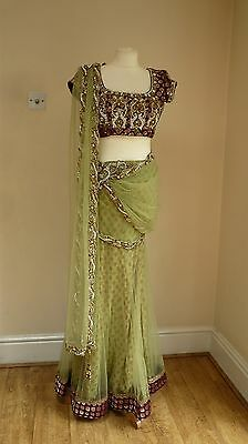 green/ plum 8-10 punjabi Indian salwar kameez sari lengha bollywood LE13390