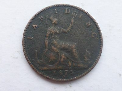 1875 Queen Victoria Old Farthing (Quarter Penny)  Coin, Dated 1875