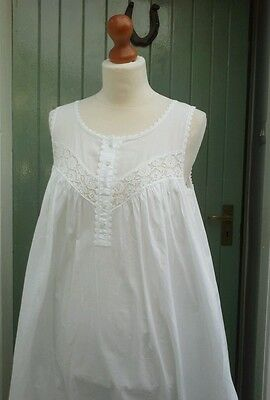 Bonsoir Vintage Victorian Long White Cotton/Lace Nighdress Nightie Size M/12/14