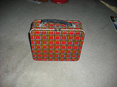 Vintage 1960's Plaid Metal Lunch Box , Lunch Pail. Rare. Wow.