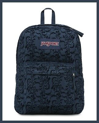 JANSPORT: SuperBreak Original School Bag Backpack in Navy Vine/Blue (NWT)