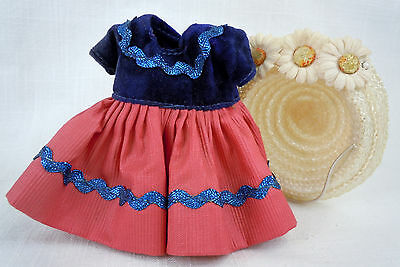 Vintage Muffie Blue and Rose Dress and Hat with Flowers for 1950's 8in Doll