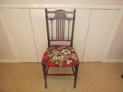 Very dainty pretty vintage chair, possibly Edwardian with string inlay & motifs.