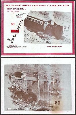 """Wales - Rarely auctioned """"Little Railways of Wales"""" £1 Specimen Banknote. UNC."""