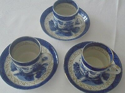 3 x Booths willow pattern coffee cans and saucers