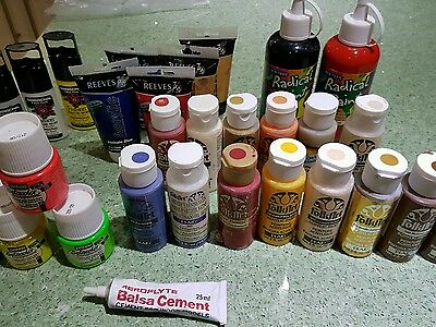 Acrylic hobby paints FolkArt Reeves Pebeo very little used