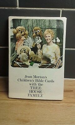 vintage jean morton's children's bible cards. tree house family. creepy. kitsch