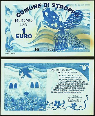 Italy - Commune of Stroppo- 1997 Local use €1, sold on specialist site for €125