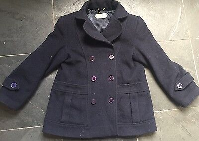 Soft Wool/Cashmere  Double Breasted Navy Pea Coat Age 8