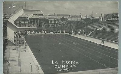 Old Postcard  Real Photo  La Piscina Olimpica  Guayaquil   Ecuador  Not Posted