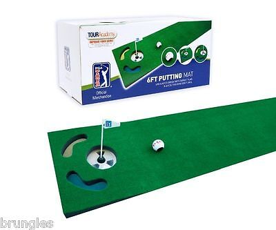 Pga Tour 6Ft Putting Mat Golf Ball + Dvd Brand New Rrp £24.99 Free Postage