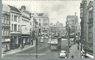 Old Postcard  Valentine's   Queen Square  Wolverhampton   Posted  1961