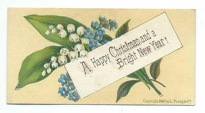 Victorian Christmas Card, Lily Of The Valley & Forget-Me-Nots