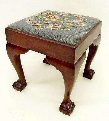 Antique mahogany stool with ball and claw feet & tapestry upholstered seat