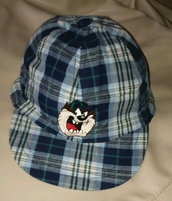 Warner Brothers Tasmanian Taz Blue And White Check Cap. Age 18-24 Mth