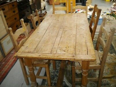 Antique Victorian scrubbed pine plank top farmhouse refectory style table