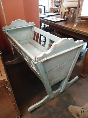 Antique early19th Century painted wood rocking cradle