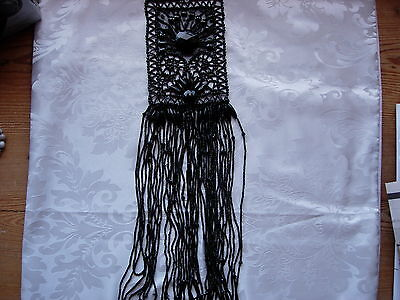 Antique Victorian Whitby Jet Handcarved Large Mourning Bodice Piece+40 Strands