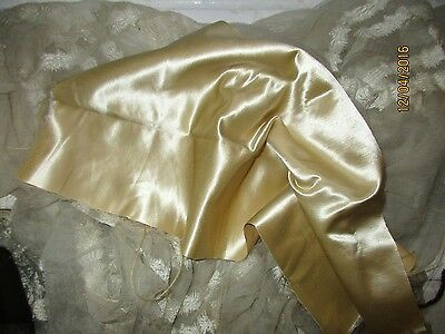 Antique Victorian Shimmering Pliable Silk Cotton Butter Cream Fabric Fragment