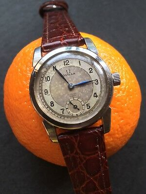 1925 Omega Cal 26.5 Mens Steel Case Two Tone Dial Dress Watch 32mm