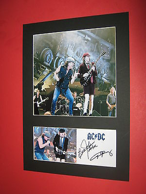 Acdc Photo Mount Signed Printed Autographs Angus Young Brian Johnson Black Ice