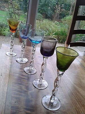 'Arts & Craft' Bohemian Style Twisted Stem Coloured Glasses x 5