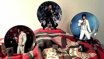 Elvis Presley Live In Performance Collectors Plates and Zippo Lighters Bundle