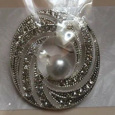 Joblot 3 X Brooches Diamante And Pearl Bridal Prom Party Bouquet