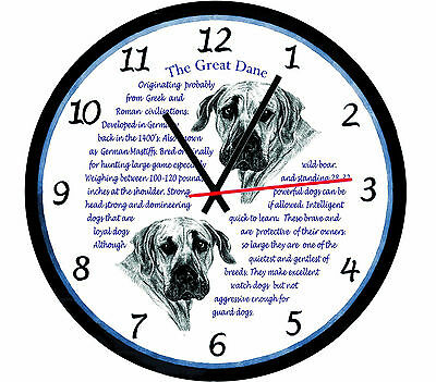 Great Dane  Dog Origins & Facts Large  Gift Boxed Wall Clock