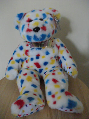 Ty 2K Confetti Bear Beanie Buddie (Buddy). Stored since Purchase. Tag with Cover