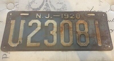 Vintage 1928 New Jersey License Plate