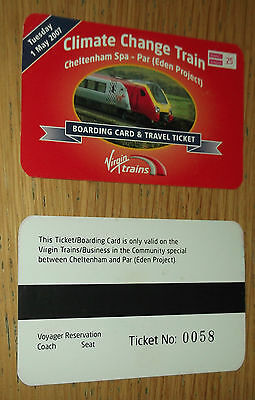Virgin Trains Climate Change Special Train 1 May 2007 Cheltenham - Par ticket