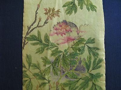 """Antique Chinese Silk Zai Shui 'Tie"""" with exquisite botanical painting."""