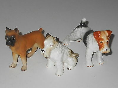 Lot Of 3 Vintage Ceramic Dog Figurines  Boxer Fox Terriers