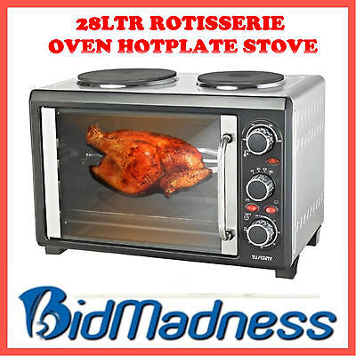 2200W 28Ltr  Stainless Steel Rotisserie Oven Stove Pizza Maker Twin Hotplate