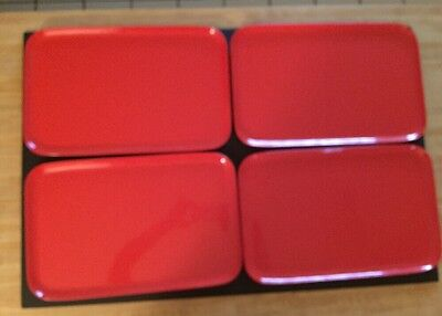 4 Vintage FRONTIER Airlines Food Serving Anchor Hocking Rectangle Trays RED
