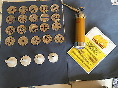 Marcato Ampia Cookie / Biscuit Press, 20 Different Shapes, All Metal, Made Italy