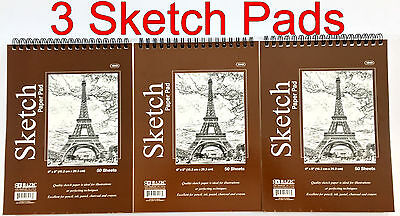 "(3) High Quality Spiral Premium Sketch Book Drawing Paper Pad 50 Sheets 6"" x 8"""