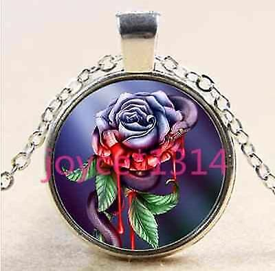 bloody ROSE SNAKE GOTH BLUE BLOOD GOTHIC CUTE VAMPIRE glass necklace pendant