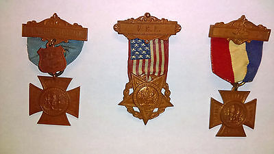 Ladies of GAR, Womans Relief Corps. 3 different medals. Great condition.